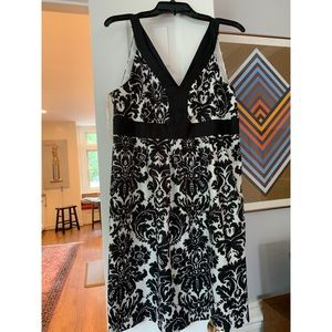 Ann Taylor LOFT Silk black and white ikat Dress